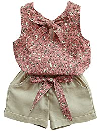 1dab4e4d59b5 Baby Clothing Kids Summer Clothes Girls Flower Printing Vest + Pure Color  Pants Children Clothing Set