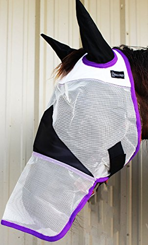 CHALLENGER Equine Horse Fly Mask Summer Spring Airflow Mesh UV Mosquitoes Bugs Care 73274 ()