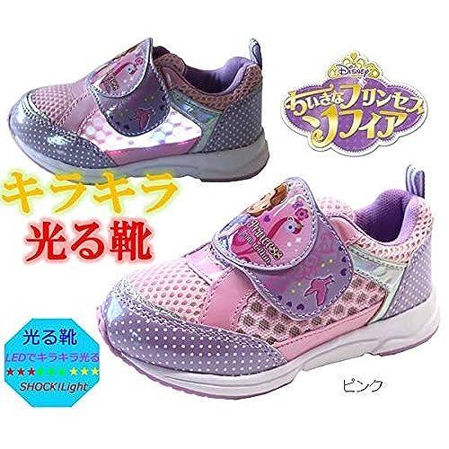 fef731ec20ba3 ... ソフィア  ソフィア  Disney ディズニー 靴 ディズニー プリンセス 女の子 ピカピカ光る マジック キッズスニーカー 子供靴  サイドがキラキラ光る靴!