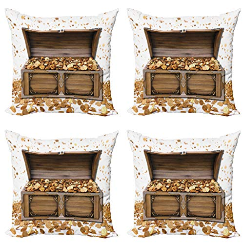 Ambesonne Chest Throw Pillow Cushion Case Pack of 4, Wealth Themed Gold Coins Kings Ransom Wooden Box Pirate Treasure Picture, Modern Accent Double-Sided Digital Printing, 20
