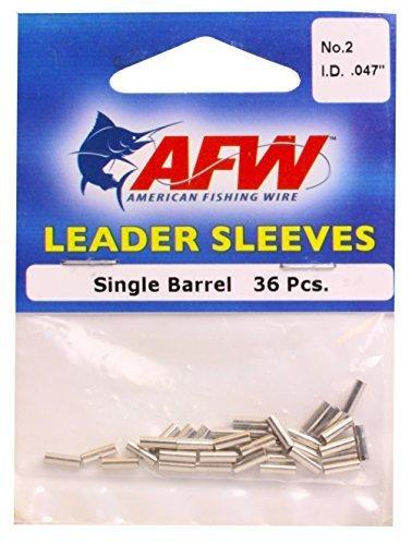 American Fishing Wire Single Barrel Crimp Sleeves, Nickel Color, Size 2, 0.047 -Inch Inside Diameter, 36-Pieces