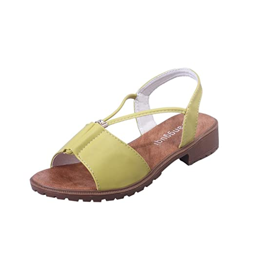 DEESEE (TM) Women Ladies Shoes Bohemia Flat Shoes Sandals CasualShoes (US: Yellow)