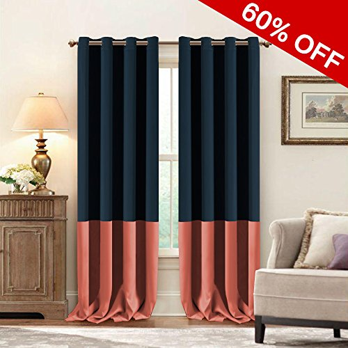 king Curtains( 2 Panels) Blackout Kendall Color Nursery & Infant care drapes( Dark Denim & Coral, 52 by 96 inch) (Solid Black Denim Drapes)