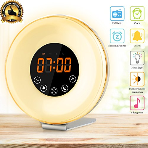 Mocatt Sunrise Alarm Clocks Best Alarm Clock for Bedrooms with 7 colors Changing Sunrise Alarm Clock for Kids and Adults Touch Control Best Clock Radio