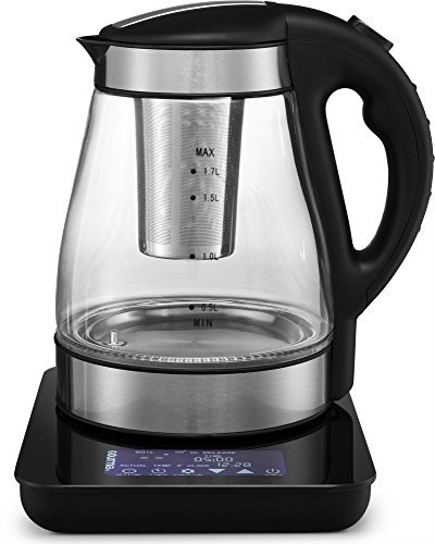 Gourmia GDK385 Digital Electric Tea Kettle -Removable Infuser -Programmable Time & Temperature Control -Real Time Water Boil Monitor -Keep Warm Function -Cordless -Auto Shut Off -1.7L -1500W -Glass - Pedestal Kettle