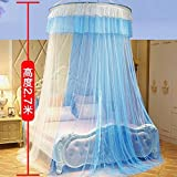 KingKara Luxury Princess Bed Net Canopy Round Hoop Netting Bedroom Decor Large Size Mosquito Net Bedding or Outdoors Netting Fit Twin, Full, Queen, King Bed Tent (Blue with White)