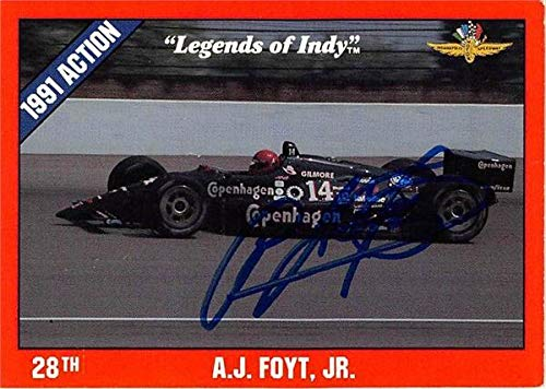 A.J. Foyt autographed trading card (NASCAR Driver, Auto Racing, SC) 1992 Legends of Indy #29 - Autographed NASCAR Cards
