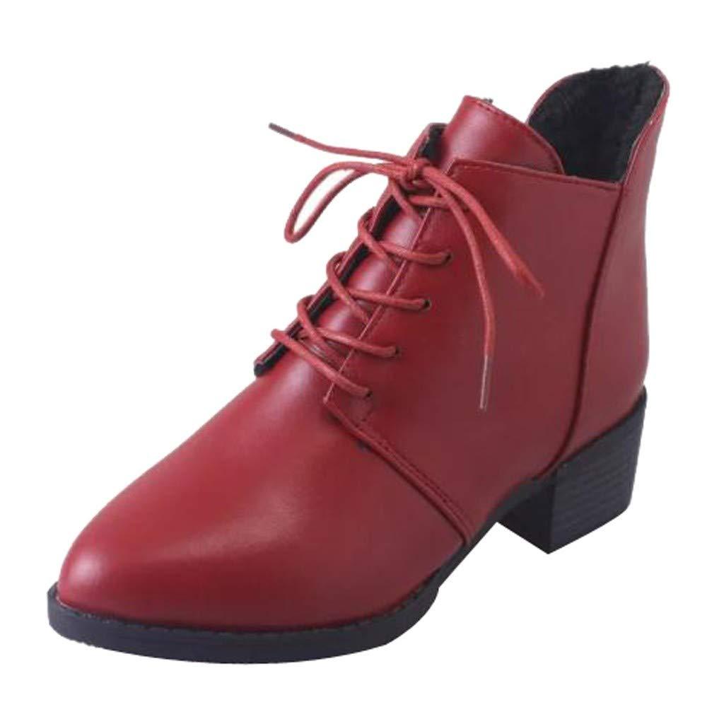 Botas Mujer Invierno Zapatos Planas Altas Tacon Botas Vintage Botas Cortas Gruesas Botas De Cuero para Mujer Botines ANA-18731