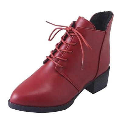 Ansenesna Stiefeletten Damen Schwarz Mit Absatz Leder Schuhe Frauen Blockabsatz Vintage Elegant Zum Schnüren Boots