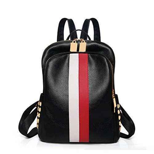 Mini Cute Backpack Leparvi Girly Leather Day Packing Teen Satchel Luxury Designer Women Tote Bag Ladies Work Rucksack(Red-white)