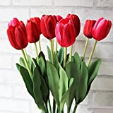 10pcs Classic Artificial Flowers, Silk Flower Tulips, Red Tulips for Wedding Bridesmaid Bridal Bouquet Home Decoration (Red)