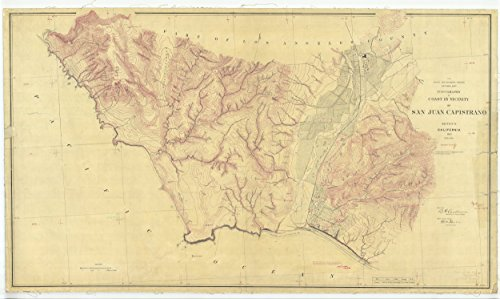 16 x 20 Glossy Nautical Map Printed on Metal Topography of Coast in Vicinity of San Juan Capistrano, CA 1885 NOAA 54a by Vintography
