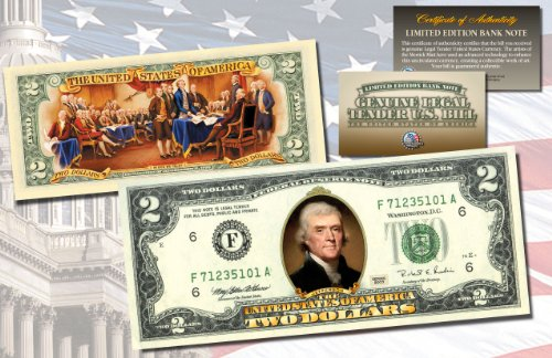 TWO DOLLAR $2 U.S. Bill Genuine Legal Tender Currency COLORIZED - Currency Tender Legal