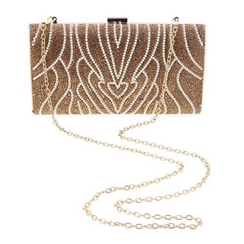 Womens Handbag Front Damara Beads Party Damara Rhinestones Womens Elegant Black ZHqEwT8E