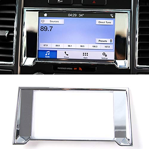 HIGH FLYING Interior Dashboard Navigation GPS Cover Decorative Trim ABS Chrome 1 Piece For Ford F-150 F150 2015 2016 - Chrome Abs Trim