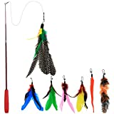 Bascolor Retractable Cat Toys Feather Teaser Wand Toy + 7 Shapes Deal