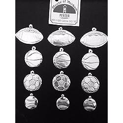 Hand Cast Pewter Hand Stamping Blanks Packs of 12, 24, or 36 Total Sport Balls Pendant/Bag Charms Kit (Includes Footballs, Basketballs, Soccer Balls, Baseballs)