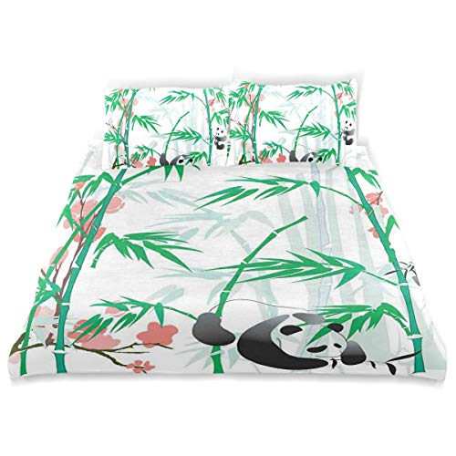 SINOVAL Decor Duvet Cover Set, Giant Woody Grass Bamboos and Panda Bear in Chinese Tropics Artsy A Decorative 3 Pcs Bedding Set with Pillowcases, Twin/Twin XL (Cover Woody Duvet)