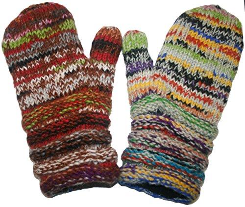 Hand Knit Mittens (1417 MT Agan Traders Unisex Hand Knit Wool Mitten (Multi 6))