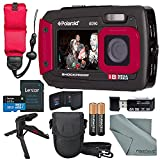 Polaroid iE090 Dual Screen Waterproof Digital Camera (Red) Deluxe Bundle with 32GB+Floating Strap+Xpix Tripod+Cases+SD Reader+Fibertique Cloth & More