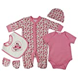 Baby-Girls Floral Hearts Theme Presents Gifts for Newborn Baby Girls Toddler Unisex Cute Clothing Sets Sleepsuit Vest Bib Hat Outfits Bundles Pack