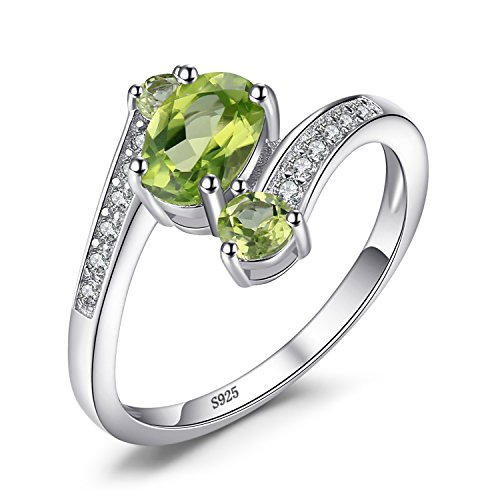 Genuine Peridot Stone Ring (JewelryPalace 925 Sterling Silver 1.1ct Natural Green Peridot 3 Stone Anniversary Ring Size 9)
