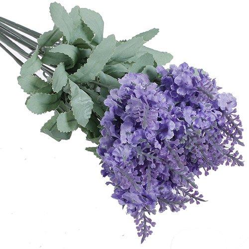 YHCWJZP Artificial Lavender Silk Flower Bouquet Wedding Home Party DIY Decor 10 Heads - Light Purple