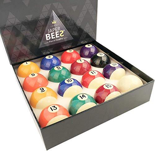 JAPER BEES Deluxe Billiard Ball/Pool Ball Set Complete 16balls Regulation Size&Weight Resin Ball ...