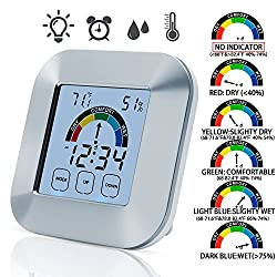 SMARTECH Digital Hygrometer Thermometer - Touchscreen Indoor Humidity Gauge with Backlight and Alarm Clock Temperature Humidity Monitor Humidity Meter Humidity Sensor
