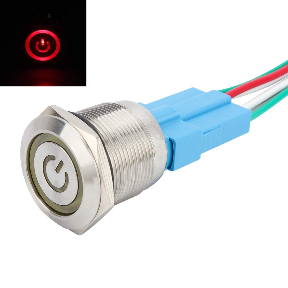 Senzeal Latching Push Button Switch On Off Stainless Steel with 12V LED Angel Eye Head for 22mm 0.87Inch Mounting Hole Power Symbol Green SZL-CA-00476