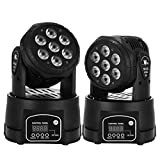 Happybuy 2Pcs 7x15W Moving Head Light Stage lighting Moving Head Light RGBW 4 in 1 DMX512 with 4 Control Mode for DJ KTV Disco Party Ballroom (2 Pcs 7x15W)