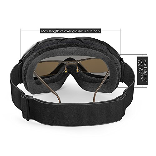 OutdoorMaster OTG Ski Goggles - Over Glasses Ski/Snowboard Goggles for Men, Women & Youth - 100% UV Protection (Black Frame + VLT 10% Grey Lens with REVO Silver)