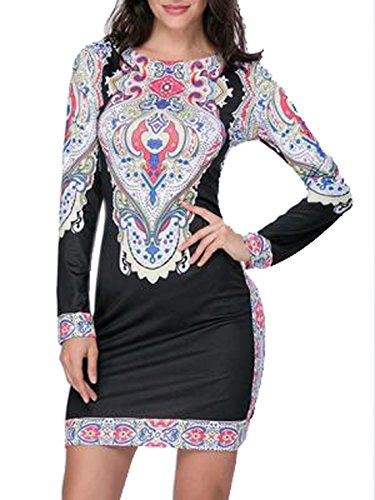 Weiblich Mode Rundhals Stickerei Blumen Bedrucktes Schlankes Farbe Stitching Lange Ärmel T-Shirt-Kleid Röcke Minirock