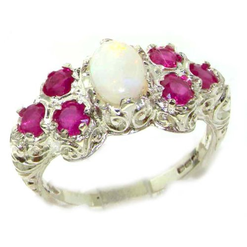 925 Sterling Silver Natural Opal and Ruby Womens Cluster Ring - Sizes 4 to 12 Available by LetsBuySilver