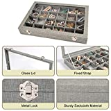 Mebbay Sackcloth Jewelry Tray with Lid, 24 Grid