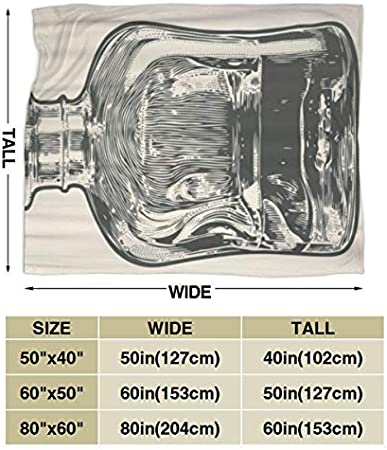 "RUBEITA Manta de Microfibra Ultra Suave,Jarra Vintage Whisky Grabado Botella Malt Whisky Bourbon Scotch,Decoración para el hogar,cálida Manta para sofá Cama,50""X40"""