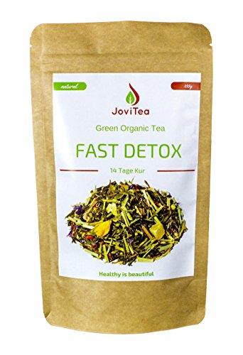 JoviTea© FAST DETOX Tee Entgiftungskur 14 Tage - 100g regt den Stoffwechsel und die Fettverbrennung an. 100% Natürlich und ohne Zusatz von Zucker. Der Entgiftungstee ist auch als Fitness Tee bei Sportlern beliebt. Hilft beim Entgiften, Abnehmen und Entschlacken. Leckere Kräuter- und Fruchtmischung zum warmen oder auch kalten Teegenuss - Grüner Tee China Sencha, Grüner Tee Matcha, Lemongras, Mate grün, Orangenschalen, Weißer Tee Mao Feng, Aroniabeere, etc.