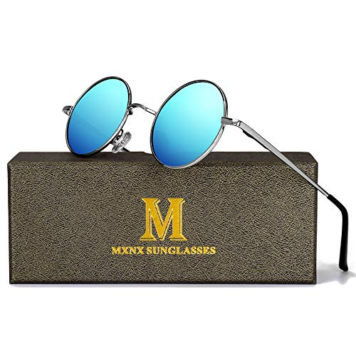 Retro Round Sunglasses for men John Lennon women Vintage Polarized Hipple Small Circle Sun Glasses MXNX209 -(Silver/Mirror Blue Lens)