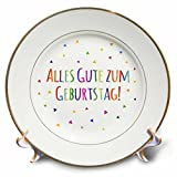 3dRose cp_202027_1 Alles Gute Zum Geburtstag Happy Birthday in German Colorful Text Porcelain Plate, 8