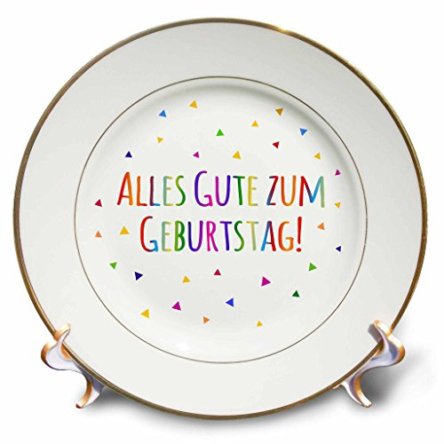 "3dRose cp_202027_1 Alles Gute Zum Geburtstag Happy Birthday in German Colorful Text Porcelain Plate, 8"""