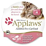 Cheap Applaws Premium Grain Free Wet Cat Food, Tuna with Crab, Only 4 Ingredients, 2.1 oz tub (18 Count)