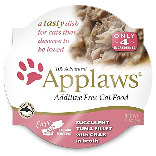 Applaws Premium Grain Free Wet Cat Food, Tuna with Crab, Only 4 Ingredients, 2.1 oz tub (18 Count)