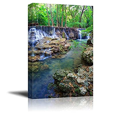 Canvas Prints Wall Art - Deep Forest Waterfall in Kanchanaburi Province, Thailand| Modern Home Deoration/Wall Art Giclee Printing Wrapped Canvas Art Ready to Hang - 24