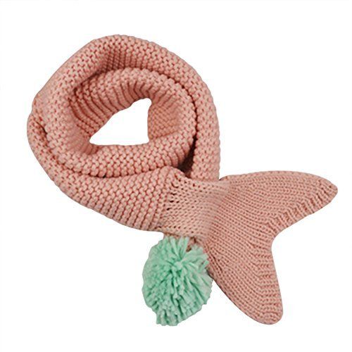 Unisex Baby Mermaid Tail Winter Scarf Knitted Crochet Warm Neck Wrap 1-6 Years,Pink (Crochet Neck Scarf)