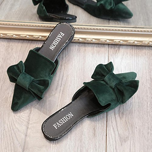 Loafers Sandals Color Green Pointed Toe Bow Flat Womens Solid Fheaven Slipper g8EnIqx
