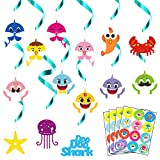 MALLMALL6 42Pcs Little Shark Party Swirl Decorations Whirl Streamers Family Shark Theme Birthday Party Supplies Ceiling Spiral Hanging Decoration with Sharks Stickers Party Favors Room Decor for Kids