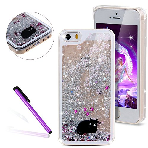 9860 Hard Case - iPhone SE Case iPhone 5S Case iPhone 5 Case EMAXELER 3D Liquid Brilliant Luxury Bling Glitter Liquid Floating Glitter Moving Hard Protective Case for iPhone 5s/5 & iPhone SE Silver Black Cat