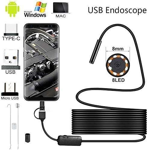 USB Type-C C/âble de 5 m /Étanche 6 LED r/églables Cam/éra serpent pour Android Endoscope 3 en 1 MAILIER 7 mm Windows//MacBook OS