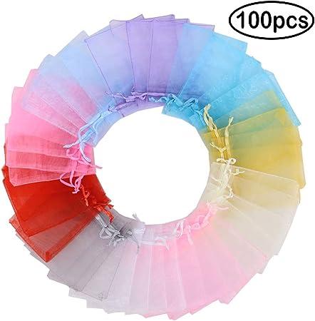 9x12cm-100pcs 1 Mix Colorful Shade Time to Sparkle 100 Pi/èces Pochettes Cadeau Sachets en Organza avec Rubans Bijoux Sac De Mariage Parti Pochettes