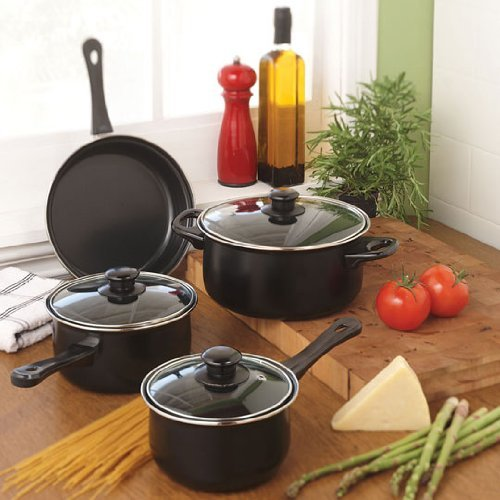 Royal cook homestead 7 piece carbon steel cookware set for Kitchen set royal